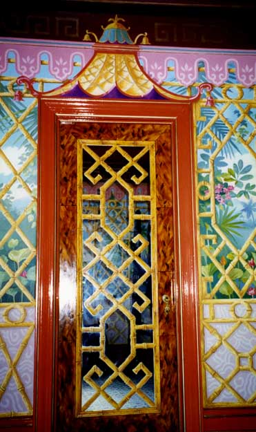 Balinese Fantasy (painted mirrored doorway), residence, NYC.